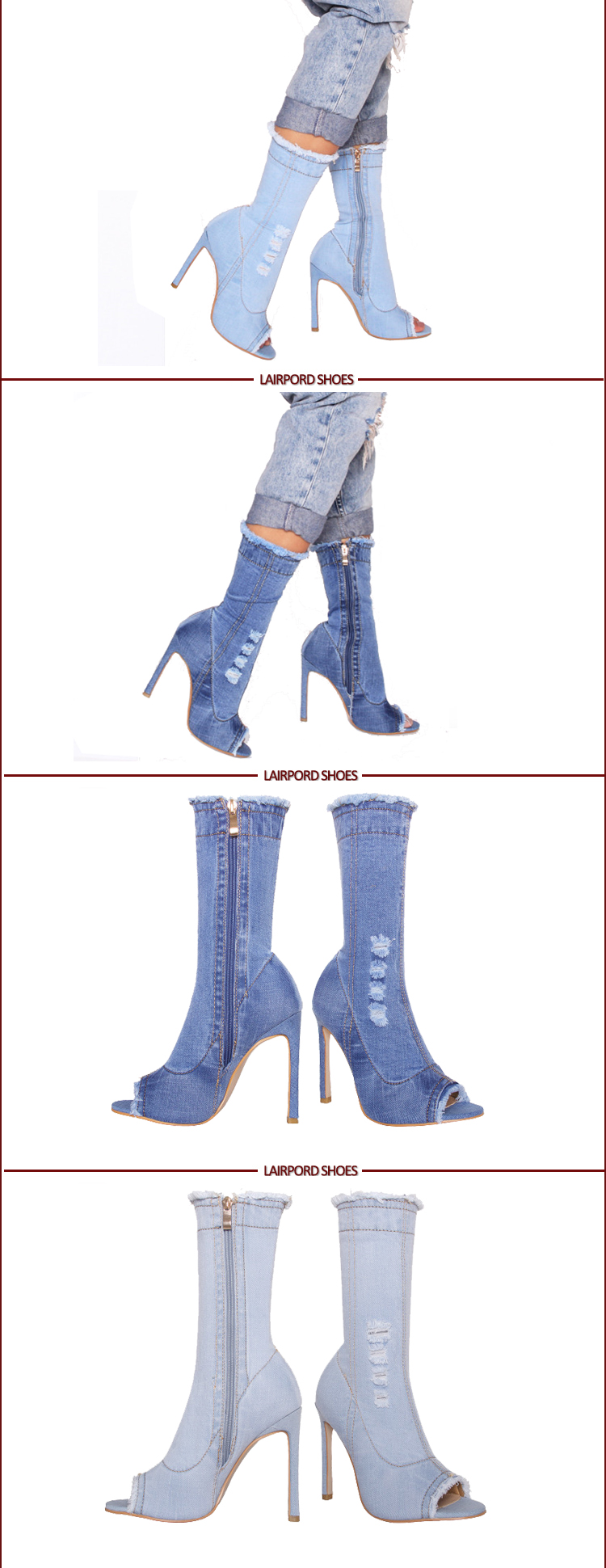 high heel ankle denim jean booties sandals
