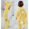 Bébé doux flanelle barboteuse Animal Onesie pyjamas tenues costume, vêtements de couchage, tissu jaune mignon, serviette à capuchon pour bébé