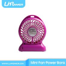 Venda quente de plástico Mini Fan 2600mAh banco de energia built-in 18650 bateria