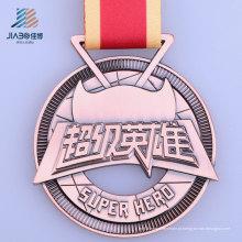 Medalha de bronze do metal do super-herói da carcaça da promoção feita sob encomenda da fonte