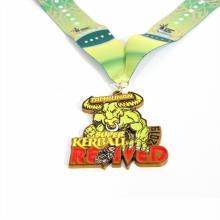 Medalla de forma de toro de esmalte de tema de fitness