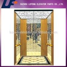 Titanium Gold Etched Mirror Passenger Elevator Cabin