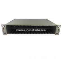 19 inch 2U 16-Slot Rack-mount media converter Chassis for central power supply, fiber media converter