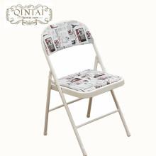 Structure de métal chaise pliante en gros pas cher avec dos en PU et siège imprimé Angleterre drapeau meubles pliants