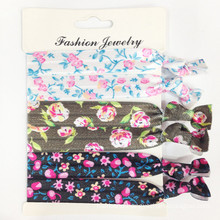 Flower Prints Elastic Band Hair Ties (HEAD-328)