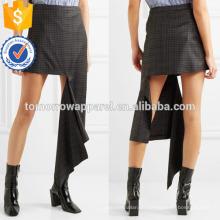 Nueva Moda Negro Comprobado Lana-sarga Verano Mini Falda Diaria DEM / DOM Fabricación Venta al por mayor Moda Mujer Ropa (TA5005S)
