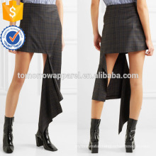 New Fashion Black Checked Wool-twill Summer Mini Daily Skirt DEM/DOM Manufacture Wholesale Fashion Women Apparel (TA5005S)