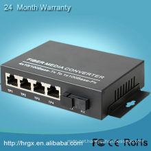 Humanity 10/100 1 fiber 4 ethernet single fiber optic to rj45 media converter