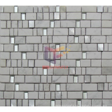 Glass and Aluminium Mix White Marble Mosaic (CS225)