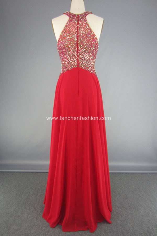 Long Chiffon Halter Neck Beaded Evening Gown