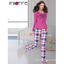 MIORRE OEM Women's Turkish Cotton Quality Long Sleeve Printed Comfortable Sleepwear Pajamas Set