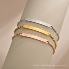 Adjustable Customize Jewelry Gold Plated Engravable Stainless Steel Blank Bar Bracelet