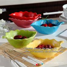Esmalte colorido prato cerâmico pires pequeno prato para lanche QF-018