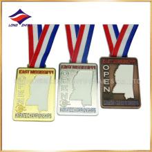 Gold Silver Copper Karate Medalhas Oca para fora medalhas com Ribbon