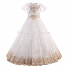 Hübsche Kinder weiße Farbe Kurzarm bestickt Tüll Blumenmädchen Kleid Engel Kleider