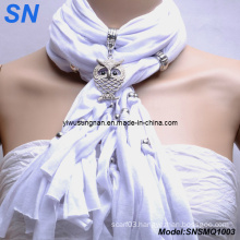 Owl Pendant Scarves with Jewelry for Lady (SNSM11003)
