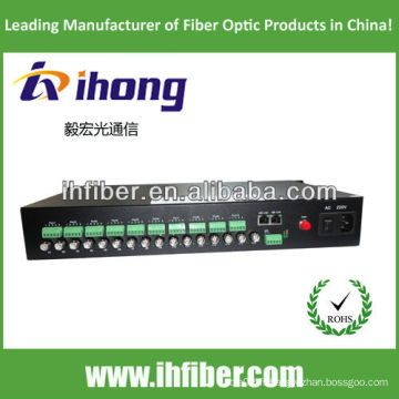16 canaux singlemode Fiber Optic Video Converter