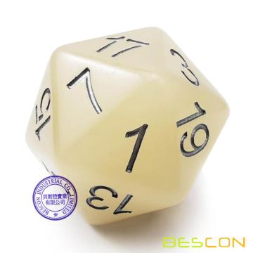 Bescon Jumbo Glowing D20 38MM, Big Size 20 Sides Dice Iced Blue Glow In Dark, Big 20 Faces Cube 1.5 inch