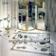 Mesa de cristal K9 y armario con bordes dorados