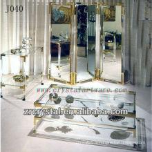 K9 Mesa de Cristal e Armário com Bordas Douradas