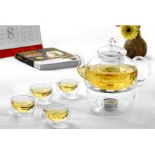 Juego de té de borosilicato, tetera de vidrio, taza de té resistente al calor