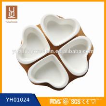 white porcelain heart shape dessert plate bowl set with bamboo base