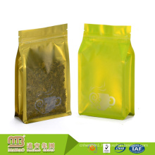 Factory Selling Aluminum Foil Back Flat Bottom Empty Biodegradable Transparent Oem Tea Bag With Zipper Top