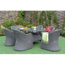 Beste Qualität Wicker PE Rattan Ess-Sets Tisch und Stuhl Restaurant Möbel