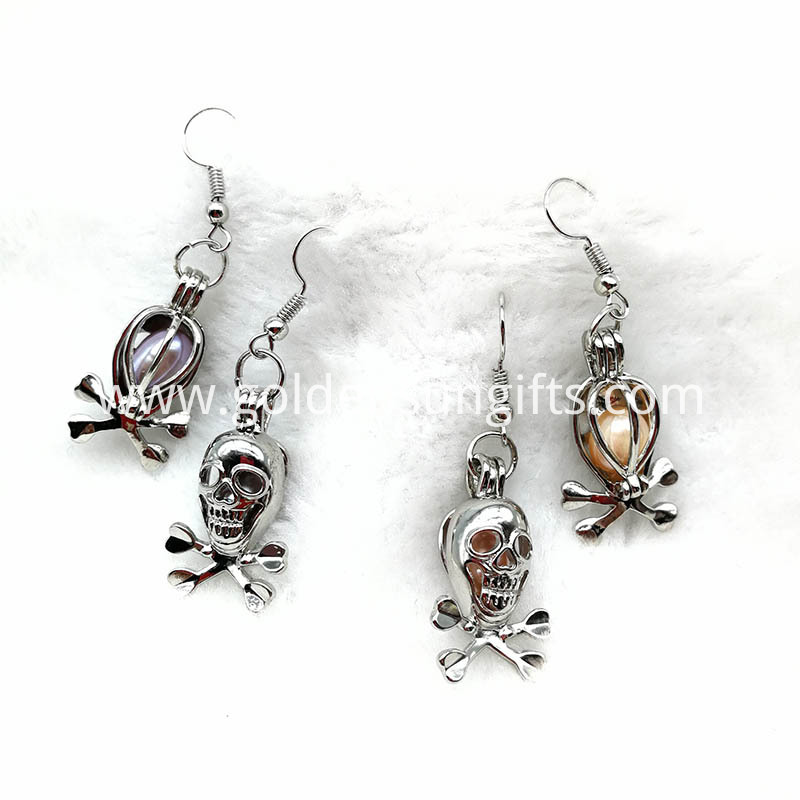 Pearl Bead Cage Pendant Earrings