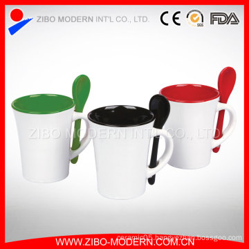 Color Glaze Ceramic Coffee Mug Cups with Spoon in Handle