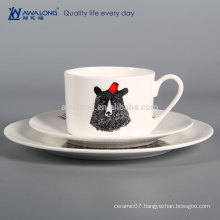 Black Bear Round Shape Party Used Porcelain Tableware, Western Ceramic Dishes From China