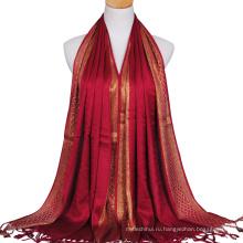 2017 последняя мода леди хлопок простой стильный проверено золота гилтер провода мусульманский хиджаб шарф Дубай с блестками кистями хиджаб