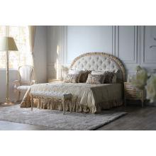 Cama de casal de tecido de cama de madeira de estilo francês