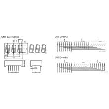 0,3 polegadas 3 dígitos 7 segmento de exibição (GNS-3031Ax-Bx)