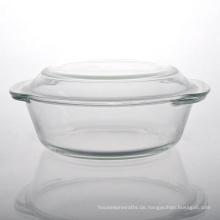 Round Borosilikat Pyrex Glass Bowl Ofen mit Griff