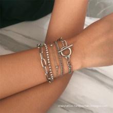 Boho Geometric Crystal Diamond Multi Layer Bracelets Bangles Charm Adjustable Lasso Bracelet Set for Women Jewelry Gifts