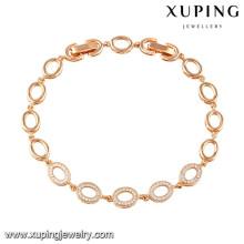 74516 xuping nueva moda 18k pulsera plateada oro de las mujeres para regalos