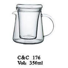 Hot Selling Borosilicate Handblown Glass Teapot with Glass Infuser C&C176