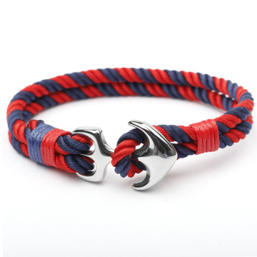 New Fashion Design for Custom Men'S Rope Bracelet Steel Anchor Hook Sailor Rope Custom Handmade Bracelet supply to Indonesia Factories