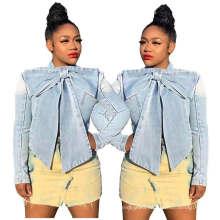 Superstarer Wholesale Latest Design Autumn Plus Size Solid Color Bow 2020 Womens Fall Jean Jacket Women