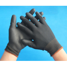 black nylon knitted working gloves coated with PU palm for sale