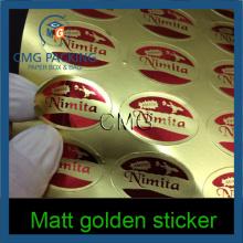 High Quality Matt Golden Printing Sticker (CMG-STR-001)