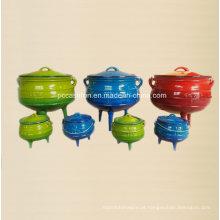 Conjunto de utensílios de cozinha de ferro fundido esmalte de Potjie Pot para South Affican Countires