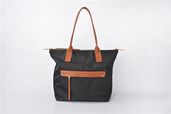 Women's Durable Large Capacity Lightweight Leather Handles Nylon Handbag