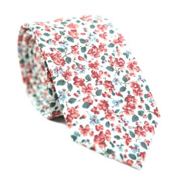 Mens Floral Printing Wedding Skinny Cotton Ties