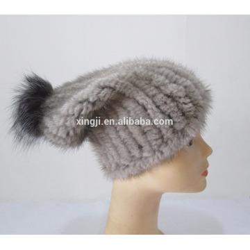 chapeau de vison tricoté de qualité supérieure femelle
