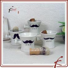White Glaze Decal Keramik Rasierpinselhalter