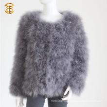Теплые короткие рукава Турция Перо меховые пальто Куртка Перо Мех куртка