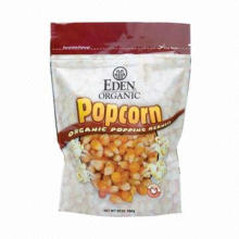 Stand-up Plastic Food Bag with Zipper for Popcorn, Tear Notch and Bottom Gusset