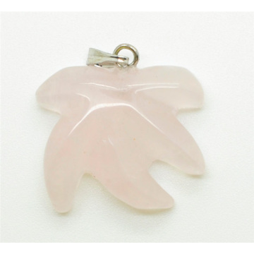 Maple Leaf Shape Rose Quartz pendant